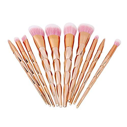 HENGSONG 10pcs Brosse de Maquillage de Brosse Poudre Contour Blush Correcteur Fondation Pinceaux Cosmétique Brosse Set Outils (Or)