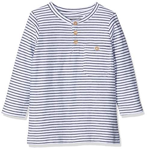 NAME IT Baby-Jungen Langarmshirt NKMVALENTIN LS TOP T NOOS Weiß (Bright White), Herstellergröße:80