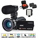 Videokamera, 4K Camcorder Cofunkool 48MP Ultra HD WiFi IPS Touchscreen IR-Nachtsicht 16X Digital Zoom Video Camcorder mit Mikrofon, LED Videoleuchte, Weitwinkelobjektiv, Schultertasche