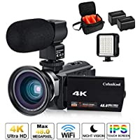 4K Camcorder Video Camera for youtube 1080P Ultra HD Digital Vlogging Camera CofunKool 48MP Touchscreen WIFI IR Night Vision Camera with Microphone, Wide Angle Lens, LED Video Light, Shoulder Bag