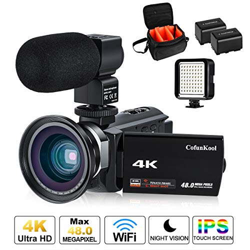 Videokamera, 4K Camcorder Cofunkool 48MP Ultra HD WiFi IPS Touchscreen IR-Nachtsicht 16X Digital Zoom Video Camcorder mit Mikrofon, LED Videoleuchte, Weitwinkelobjektiv, Schultertasche - Digital-film-kamera