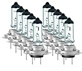 Luminizer Ampoules de Phare Avant Lampe H7 Lumière Lampes De Voiture Super Brillant PX26d 10 x H7 12 V 55 W Ampoules Halogènes avec marque de contrôle E1 PX26D