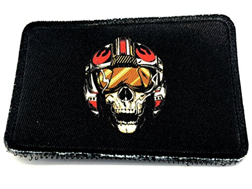 Rogue Squadron Skull Cosplay Airsoft Sublimated Moral Patch, rot, 50mm x 75mm