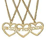 Reliablee collane con Ciondolo a Forma di Cuore Best Friend Forever per 3Ragazze Ragazzi. Amicizia Regali di Accessori.( Gold )