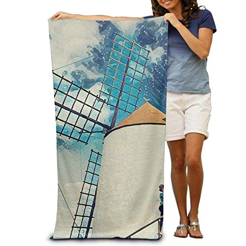 ewtretr Bath Towel Windmill Art Painting Filter Patterned Soft Beach Towel 31