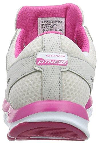 Skechers Liv Fearless 2, Sandales d'athlétisme et sports de plein air femme , Gris - Gris clair/rose vif