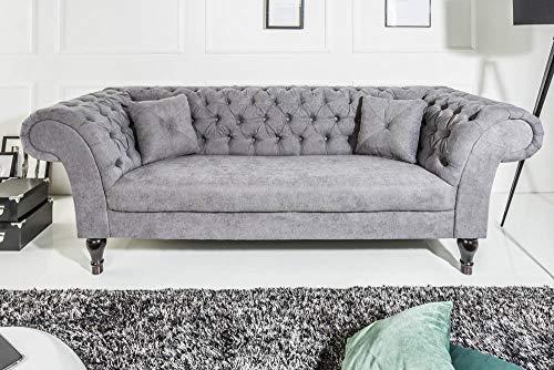 Riess Ambiente Chesterfield Sofa Contessa grau mit 2 Kissen 2er Couch Zweisitzer Barock Englisch