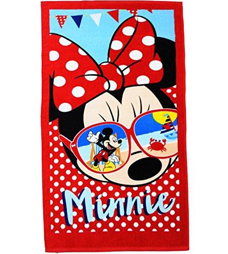 alles-meine.de GmbH Badetuch / Strandtuch -  Disney Minnie Mouse - Sonnenbrille  - 70 cm * 140 cm - Frottee / Velours - 100 % Baumwolle - Handtuch - Mädchen & Jungen - 70x140 f..