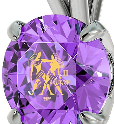 Pendentif Signe du Zodiaque en Argent 925 - Collier Gémeaux avec Inscription en Or 24ct sur un Cristal Swarovski, 45cm - Bijoux Nano Violet Clair