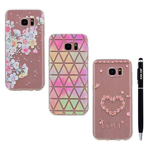 Preisvergleich Produktbild Galaxy S7 Hülle Case, ZXK CO 3 Stück TPU Silicone Case Schutzhülle Ultra Dünn Tasche für mit Samsung Galaxy S7 Hülle Transparent-Blumen und Blumenherz und Bunt Dreieck