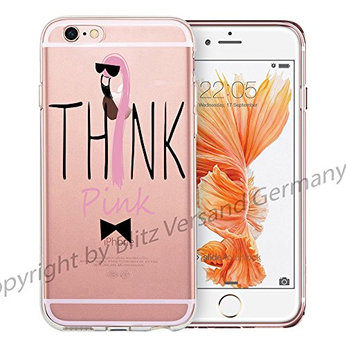 blitzversand Handyhülle REALAX CHILL kompatibel für iPhone 5 C Think Pink Flamingo Denk Pink Schutz Hülle Case Bumper transparent M10