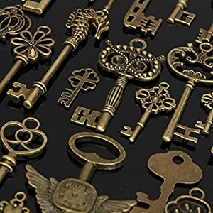 Vintage Keys Ciondoli Retro Bronzo Skeleton Vintage Chiavi Set Chiavi Fai Da Te Accessori Handmade Fascino Collana Regalo di Natale per Bambino Gruppo Ricordo 69pcs - KING DO WAY