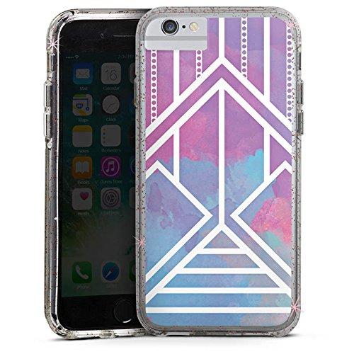 Apple iPhone 6 Bumper Hülle Bumper Case Glitzer Hülle Ethno Pastell Galaxy Modern Bumper Case Glitzer rose gold