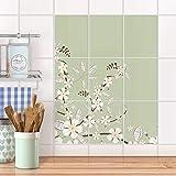 creatisto Bad-Fliesen Fliesen I Design-Dekorsticker Küchenfolie Badgestaltung I 20x25 cm Design Motiv White Blossoms - 9 Stück