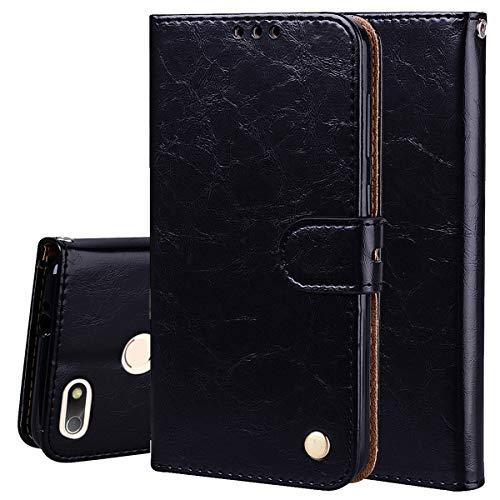 Schwarz Brieftasche Tasche (Nadoli Leder Hülle für Huawei P9 Lite Mini,Retro Ölwachs Premium Pu Leder Magnetverschluß Ständer Klapptasche Kartenfäche Flip Schutzhülle Tasche Brieftasche)