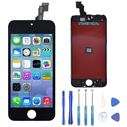 Supnew LCD Display für iPhone 5C Schwarz, LCD Touchscreen Digitizer Front Komplettes Glas Display Retina Reparatur Ersatz Bildschirm für iPhone 5C Schwarz + Werkzeugset (Digitizer Iphone 5c)