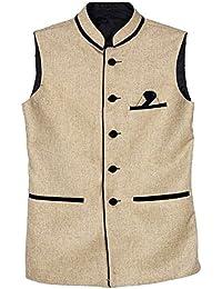 BIS Creations Men's Solid Golden Waistcoat