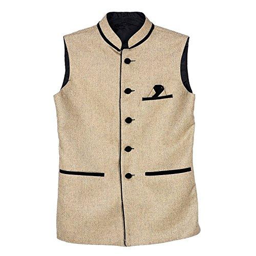 BIS Creations Men's Cotton Ethnic Jacket(Nj_Golden_Xl_Golden_X-Large)