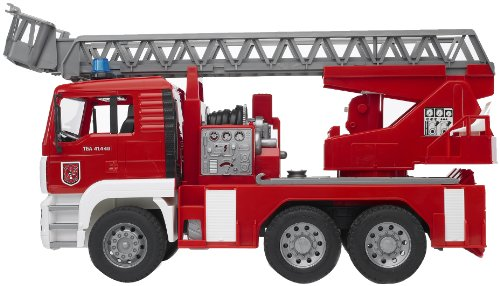 Image of Bruder 02771 MAN Fire Engine with Slewing Ladder, Water Pump, Light and Sound