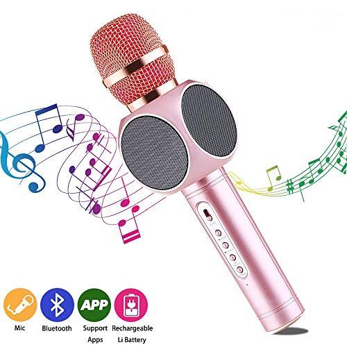 Bluetooth Karaoke Mikrofon, Drahtloses Karaoke Microphone Kinder, Bluetooth Lautsprecher, Singen und Musik hören, für Party,Podcast,Familie. kompatibel mit Android/IOS, PC (Karaoke Singen)