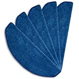 havatex Velours Stufenmatte Trend 24 cm x 65 cm / 15 Stück schadstoffgeprüft pflegeleicht schmutzresistent robust strapazierfähig Treppe Treppenschutz Stufenschoner, Farbe:Blau