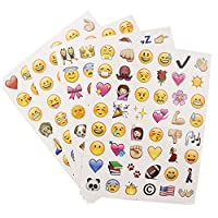 4 sheets Cute Lovely 48 Die Cut Emoji Smile Sticker For Notebook Message High Vinyl Funny Creative GYH