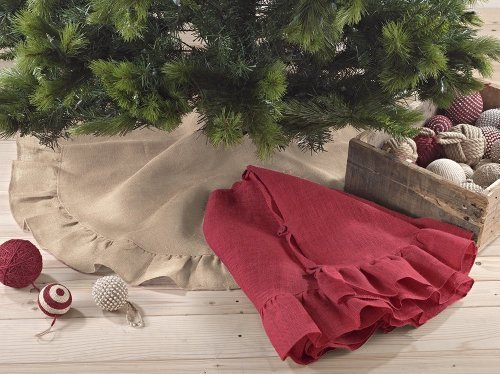 Holiday D?or Ruffle Trim Jute Burlap Xmas Tree Skirt, 53-inch Round (Natural) by Fennco Jute Trim