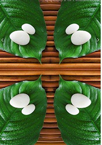 Vlies Tapete Wandbilder A Green Leaf Beads Wood-Grain Wellness Center 3D Art Sticker 3D Art Painting On The Floor