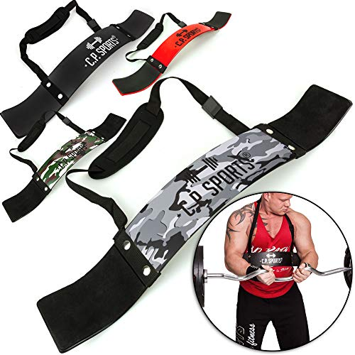 C.P. Sports Arm Blaster Bizeps Isolator für Bodybuilding, Kraftsport & Gewichtheben - Bizepstrainer, Trizeps Bomber (Camo-Weiss)