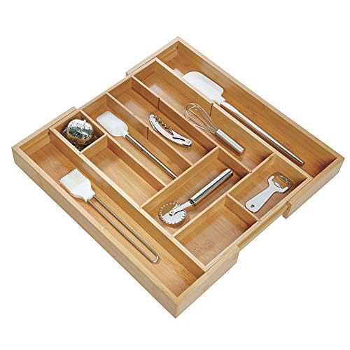 InterDesign Formbu Expandable Cutlery Tray Silverware Organizer for Kitchen Drawers, Cabinets, Countertops, Large -