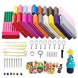 QMAY Polymer Clay, 24 Farben Ofen Backen Clay Kit Mit 5 Skulptur Tool Set und Zubehör, Tutorials, DIY Modellierung Molding Ket Bunten Ton, Kinder …