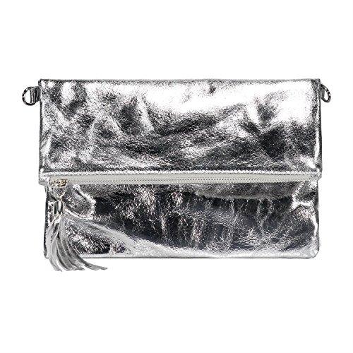 h4f-italy-damen-clutch-echt-leder-blogger-metallic-finish-zipper-tasche-farbe-silber-grau-gre-onesiz