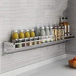 Étagère de cuisine Étagère à épices murale en acier inoxydable 304 Étagère de rangement multifonction à domicile Économiser de l'espace et de la charge (Couleur : B, taille : 50cm)