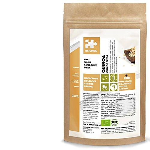 Naturteil - Bio Quinoa Weiss ganz - 500g - Pseudogetreide, Rohkost, Vegan | Quinoa Seeds Whole Organic