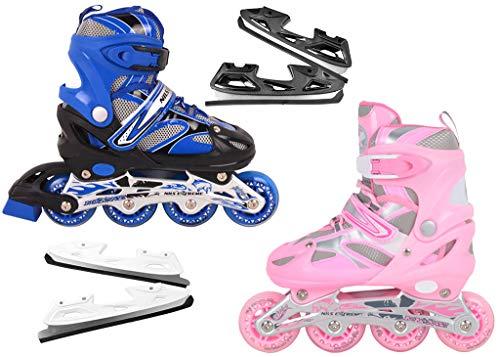 Nils Extreme inlineskates Kinder verstellbar Rollschuhe Schlittschuhe # 2in1 Inline Skates (Rosa, S(31-34))