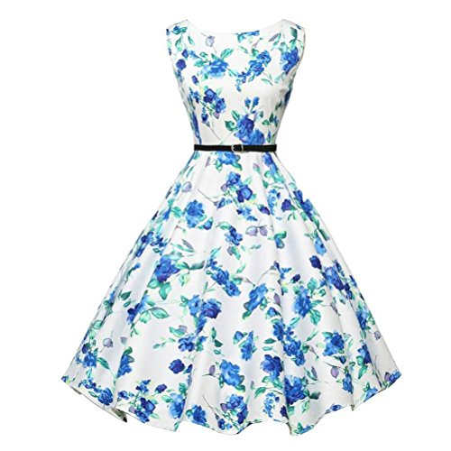 VENMO Sleeveless 1950s Hepburn Style Vintage Flower Printed White Swing Dress Soft Chiffon Bodycon Midi Ladies Casual Spring Prom Party Cocktail Dress (XXL)