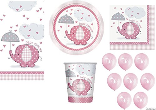 Pink für Mädchen Baby Dusche Partei Geschirr Pack CO Umbrellaphants Design Servietten Teller Tassen Tischdecke Luftballons 57Stück Originalverpackung