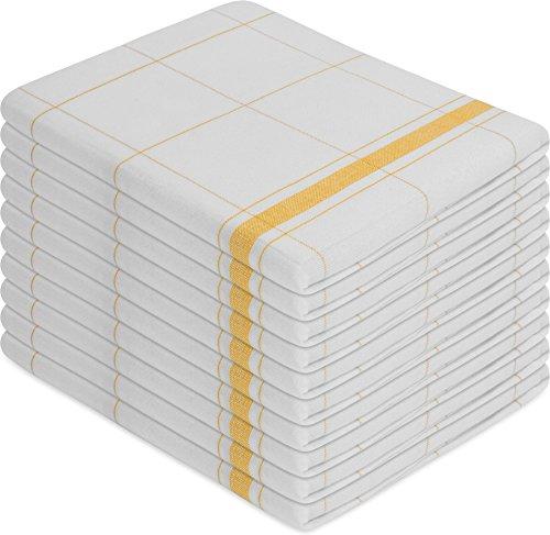 normani 10 x Halbleinen Geschirrtücher, Geschirrtuch, Küchentuch, Abtrocktuch waschbar bis 60° C Farbe Profi Wipe/Gelb