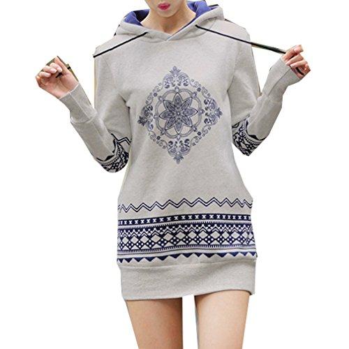WTUS Sweat-shirt à Capuche Femme Automne Hiver Manche Longue Classique Coton Hoodie Pull Jumper Gris