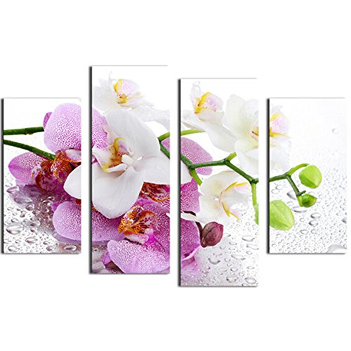 Bluelover Combinación De 4Pcs Orquídeas Cuadros Impreso En Lienzo Sin Marco Dibujo Casa Pared Decoración Regalo