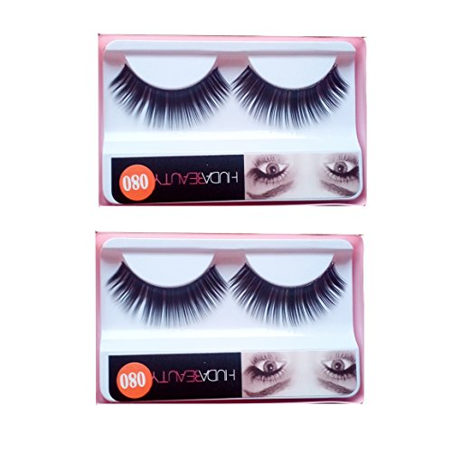 HUDA BEAUTY Imported 2 Pair Black Natural Thick Long False Eyelashes with Adhesive - 080