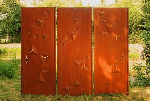 Gartenwand Sichtschutz Triptychon Dreieck rost Stahl 225x195 cm