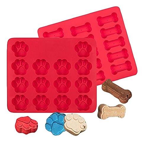 Tiscen Dog Paws & Bones Cake Pan, Dog Treats Silicone Pet Baking Mould for Kids DIY Cookies, Dog-lovers, Cheesecake,