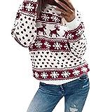 Damen Weihnachten Hoodie Weihnachtspullover Elm Christmas Pullover mit Rentiermuster Punkte Druck Langarmshirt Kapuzenpullover Cute Hemd Mantel Sweatshirt Fashion Pulli Warme Elegante T-Shirt