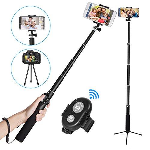 Bluetooth Selfie Stick Stativ, EletecPro Wireless Selfie-Stange bis zu 31.9 Zoll Verlängerbar Fernbedienung Abnehmbarer für iPhone X/ 8/ 7/ 7 plus/ 6s Android Samsung Galaxy, Huawei, HTC 3.54-3.6 Zoll Bildschirm GoPro und Digitalkameras (schwarz)