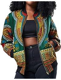 Las Señoras Dashiki De Manga Larga De La Moda De Ropa Africana Impresión Corta Chaqueta Casual