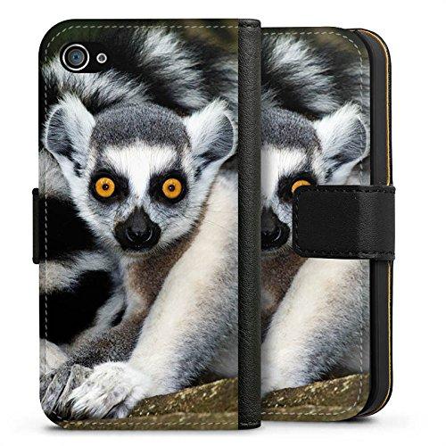 Apple iPhone X Silikon Hülle Case Schutzhülle Lemur Affe Madagaskar Sideflip Tasche schwarz