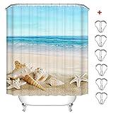 MIN-XL Duschvorhang Anti-Schimmel Textil Waschbar Anti-Bakteriel Badvorhänge 3D Wasserdicht Duschvorhänge mit 12 Edelstahl Duschvorhangringe für Badezimmer (Strand Conch, 180 x 180 cm)