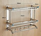YFF@ILU Das Badezimmer Handtuchhalter Edelstahl Badezimmer Regal 2 Layer Doppel wc wc Racks Wandhalter 5 Kim hängenden Mobiles