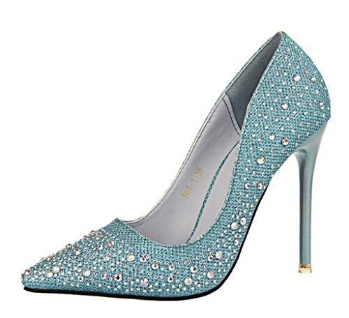 Minetom Femmes Bout Pointu Chaussures Strass Stiletto Chaussures Chaussures À Talons De Mariée Chaussures Brillantes À Talon Chaussures Bleus
